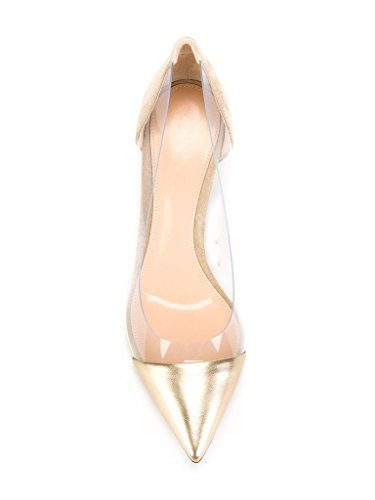 Kolnoo 80mm Durchsichtig Damenschuhe Pumps,Spitz Toe Slip-ons Pfennigabsatz Schuhe Gold