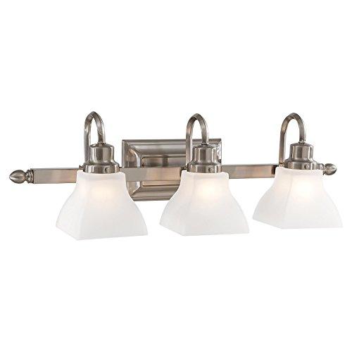 (Minka Lavery Wall Light Fixtures 5583-84 Mission Ridge Reversible Glass Bath Vanity Lighting, 3 Light, 300 Watts, Nickel)