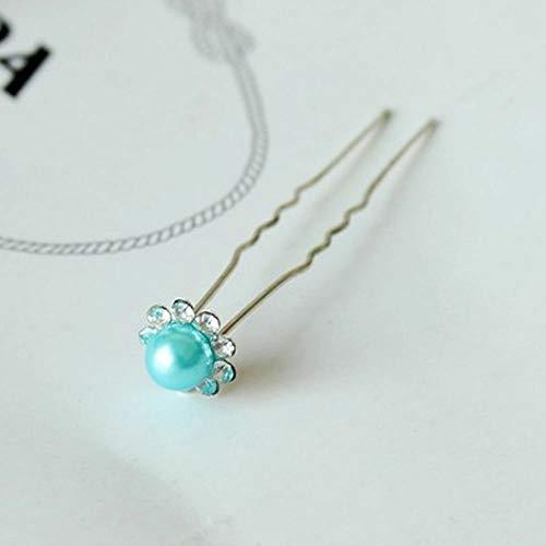 Pearl Bridal Flower Crystal U Shape Headwear Hair Pins Clips Jewelry (color - Blue)