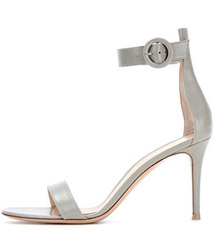 Chaussures Bride Lanière Femmes Fashion 8 Couleurs Des Artisan Argenté Simples Elégants Edefs Gris 100mm Talon À De Cheville Haut Sandales 5cm 0w7gxfA0q