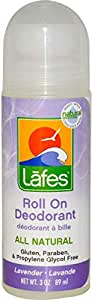 Lafe's Natural Body Care Roll On Deodorant Lavender 3 oz (89 ml)