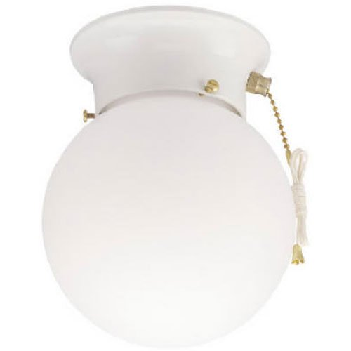 6668000 One-Light Flush-Mount Interior Ceiling Fixture with Pull Chain, White Finish with White Glass Globe (White Pull Glass)