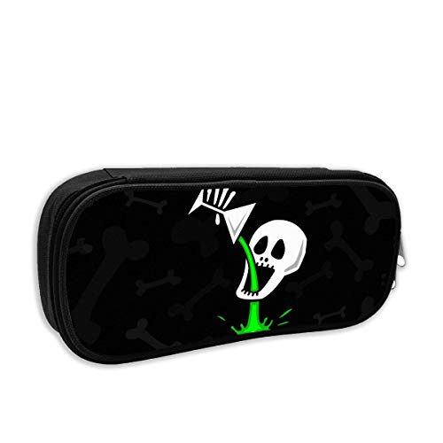 YYPPANBAG Pen Pencil Case Amusing Skull 3D Printed Student Box Stationery Pouch Multilayer Storage Bag Black