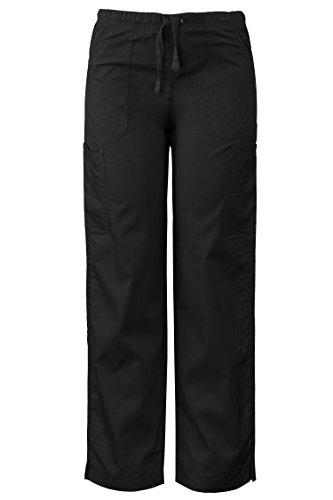Elastic Waistband Drawstring Polyester (Medgear Women's Scrub Pants, Multi-Pockets, Elastic Waistband & Drawstring (L, Black))
