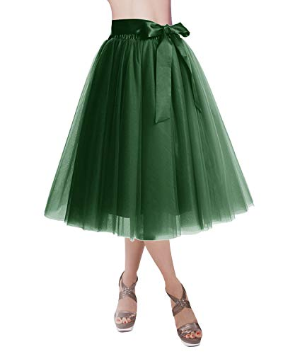 DRESSTELLS Knee Length Tulle Skirt Tutu Skirt Evening Party Gown Prom Formal Skirts DarkGreen S-M ()