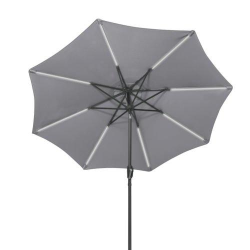 9 FT Patio Solar Umbrella LED Tilt Deck Waterproof Garden Market Beach Gray by