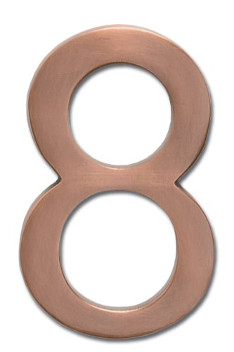 Architectural Mailboxes 3585AC-8  Brass 5-Inch Floating House Number 8, Antique Copper