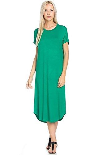 12 Ami Basic Solid Short Sleeve Midi T-Shirt Dress Green L