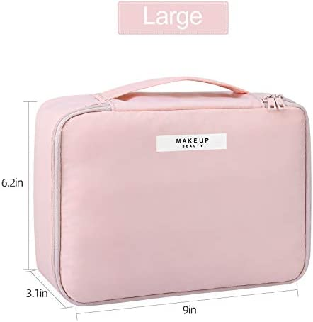 Pocmimut Makeup Bag Cosmetic Bag for Women Cosmetic Travel Makeup Bag Large Travel Toiletry Bag for Girls Make Up Bag Brush Bags Reusable Toiletry Bag(Pink)