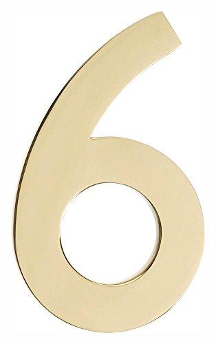 [해외]세련된 황동 마감의 부동 하우스 넘버 6 (3.12 in. x 5 in. (0.34 lbs.))/Floating House Number  6  in Polished Brass Finish (3.12 in. W x 5 in. H (0.34 lbs.))