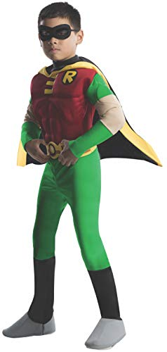 Child Robin Costume (Rubies DC Comics Teen Titans Deluxe Muscle Chest Robin Costume,)