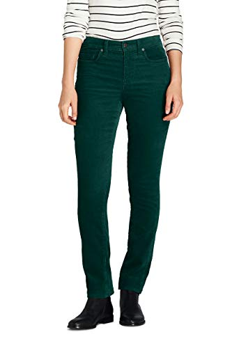 (Lands' End Women's Tall Mid Rise Straight Leg Corduroy Pants, 18 34, Deep Emerald)