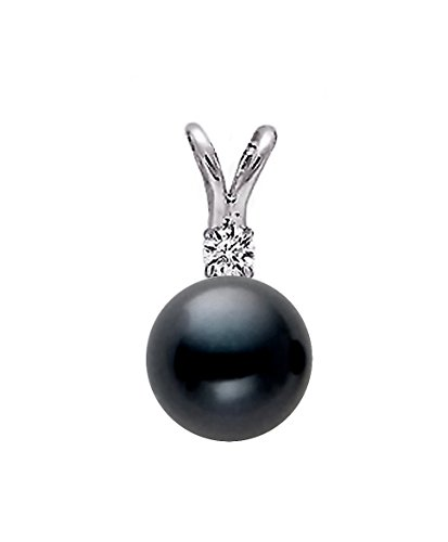 14k White Gold AAAA Quality Dark Black Freshwater Cultured Pearl Diamond Pendant (8.5-9mm) (Pearl Necklace Fw Pendant)