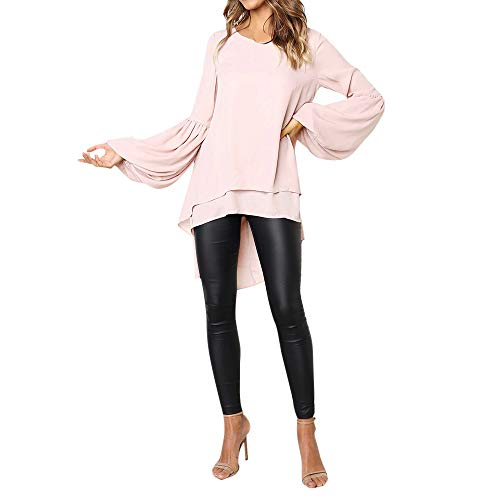 (Toimothcn Women Loose Casual Puff Sleeve Blouse Irregular High Low Hem Tops Plus Size(Pink,M))