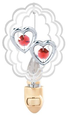 (Twin Hearts In Scalloped Oval Night Light..... With Red Swarovski Austrian Crystals)