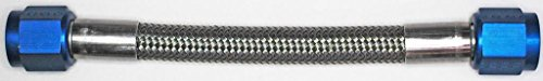 AN-6 36 In. Long Stainless Steel Braid Teflon Hose/blue straights NC