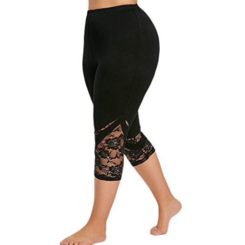 Dressin Womens Plus Size Leggings Fashion Lace Casual Sport Capri Yoga Pants Skiny Sexy Trousers for Women Black ()