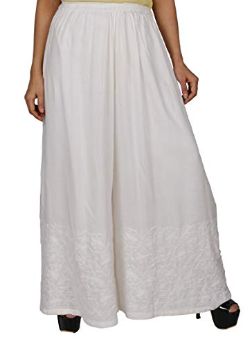(Awadh Chikan Craft Acc Women's Latest Ethnic Embroidered Palazzo Pant with Drawstring for Womens (Free)