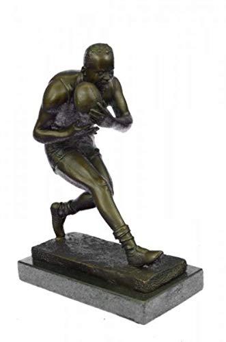 Stunning Handcrafted Aussie Rugby Player Bronze Sculpture Marble Base Trophy Figurine Art