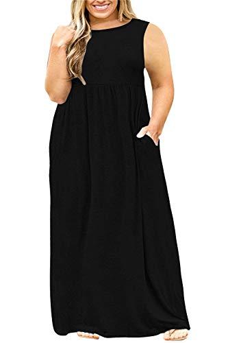 Nemidor Women Sleeveless Loose Plain Casual Plus Size Long Maxi Dress with Pockets (24W, Black+Sleeveless)