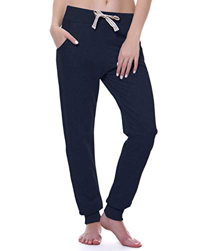 ChinFun Women's Yoga Running Pants Outdoor Lounge Sweat Pants Tapered Side Pockets(Navy, M)