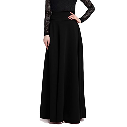 Length Black Floor Skirt (Women Maxi Long Elegant Skirts Black X-Large)