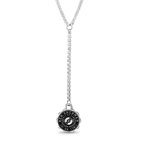 Ben Sherman Adjustable Men's Black Disc Design Shield Pendant Necklace on Y-Style Rolo Chain in Stainless Steel, Silver
