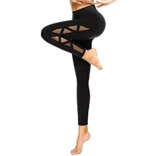 romansong High Waisted Yoga Leggings for Women with Pockets Mesh Sexy Dressy Gym Pants Ripped Workout Leggings Butt Lifting Active Wear Athletic Pants Distressed Black Medium