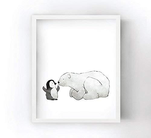 Penguin and Polar Bear Eskimo Kiss - Nursery Art Print for Kids Room (Kiss Deluxe Land)