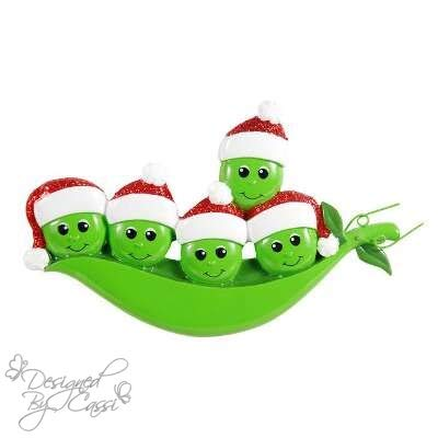 (DesignedByCassi Personalized Christmas Ornament Pea Family of 5/ Pea Pod/Friends/Coworkers Custom)