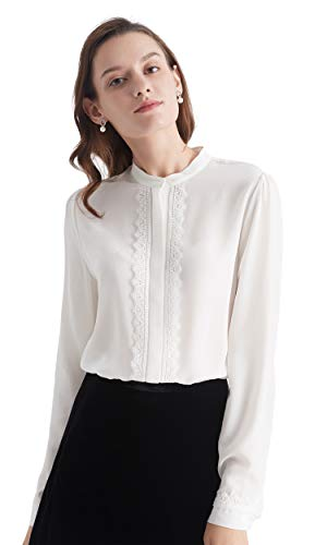 LilySilk Silk Blouse for Women Stand Collar Lace-Trim Work 100 Silk Long Sleeve Natural White XL/14-16