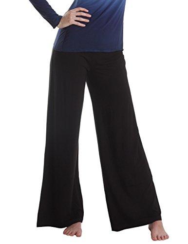 Sassimi Women's Soft Bamboo Rayon and Organic Cotton Wide Leg Pants, Medium (8-10), (Organic Wide Leg Pant)
