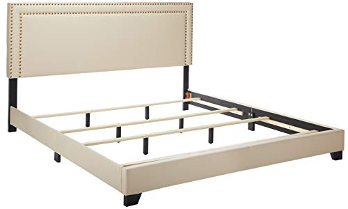 Pulaski Cream Upholstered Bed with Nail Head Trim, King