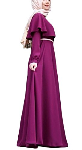 Vska Women's Plus Size Muslim Baggy Solid Colored Wedding Long Dresses Purple M