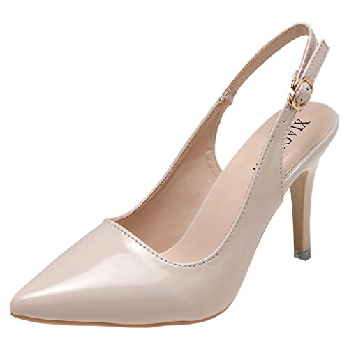 (iFOMO Women's Slingback Pumps Stiletto High Heels Ladies Pointed Toe Sandals Dress Party Shoes Beige US 7)