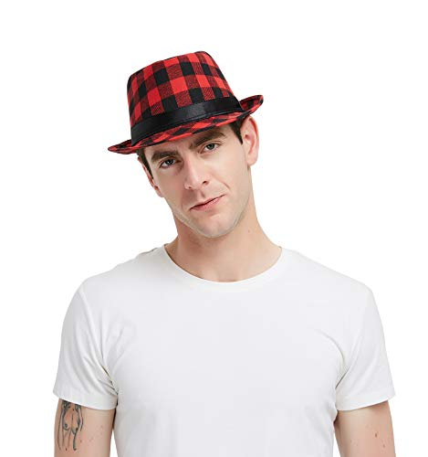 Plaid Print Fedora Soft Checked Print Outdoor Hat Cap, Black and -