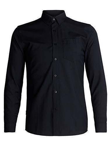 Icebreaker Merino Men's Departure II Button Down Shirt for Travel, New Zealand Merino Wool, Black, Medium