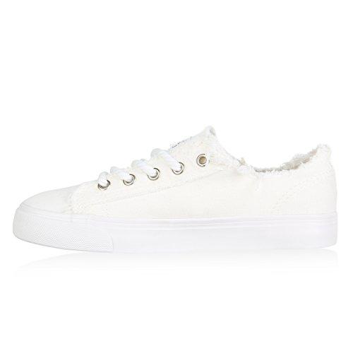 Stiefelparadies Damen Sneaker Low Fransen Turnschuhe Prints Stoff Schuhe Schnürer Flandell Weiß