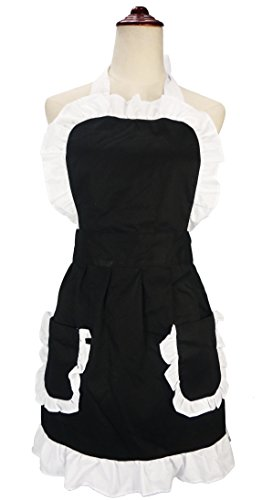 LilMents Women's Ruffles Outline Retro Pockets Apron Kitchen Cooking Cleaning Maid Costume (Black) (Cake Fancy Dress Costume)