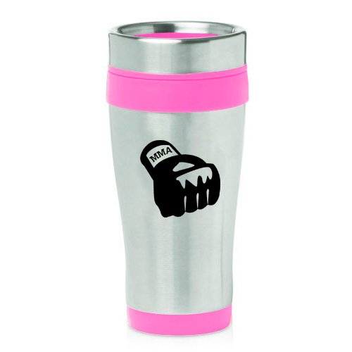 16oz Insulated Stainless Steel Travel Mug MMA Boxing Glove (Pink )