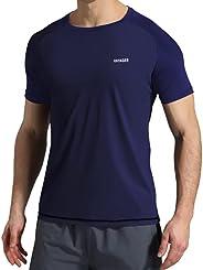 VAYAGER Men's Swim Shirts UPF 50+ Short Sleeve Quick Drying Rashguard Crew S