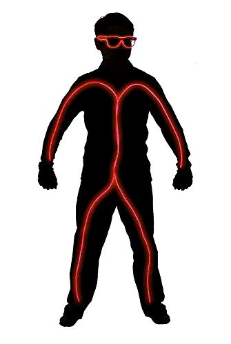 GlowCity Light Up Stick Figure Costume Kit Includes Lights, Shades and Clips Only-Clothing Not Included-Red Reg