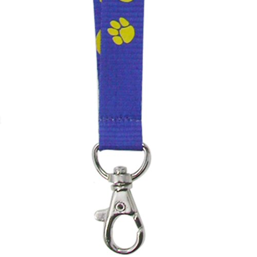PinMart's Blue and Gold Paw Print School Mascot Sports Lanyard w/Safety Release by PinMart (Image #2)