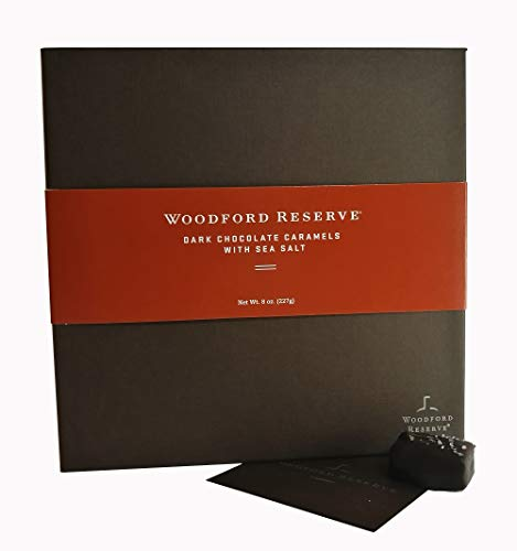 - Woodford Reserve Premium Bourbon Dark Chocolate Caramels with Sea Salt Gift Box, 16 Candies per box, delicious and perfect for holiday gifts