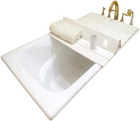 ZHANWEI 浴槽カバー 防塵ボード 風呂ふた 折り畳み 入浴 断熱板 PVC 携帯電話 ブラケット 棚 白い、複数のサイズ (Color : White, Size : 138x75x0.6cm)