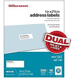 Office Depot White Inkjet/Laser Address Labels, 1in. x 2 5/8in., Box Of 3,000, 505-O004-0004