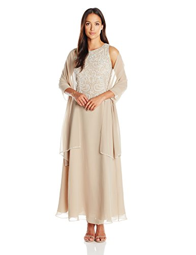 J Kara Women's Beaded Sleeveless Long Dress With Scarf, Champ/White/Silver, 8 Petite