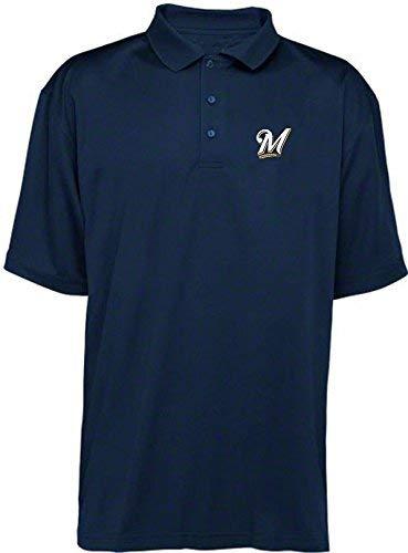 VF Imagewea Milwaukee Brewers MLB Mens Majestic Dri Fit Navy Polo Golf Shirt Big Sizes (4XL)