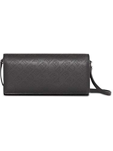 (Burberry Women's Black Perforated Logo Leather Clutch Handbag )