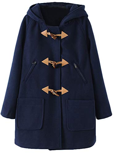 Minibee Women's Wool Blend Toggle Coat Outdoor Hooded Pea Coat Duffle Jacket Thick Navy Blue M
